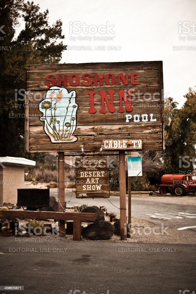 Shoshone Inn Sign, Death Valley stock photo