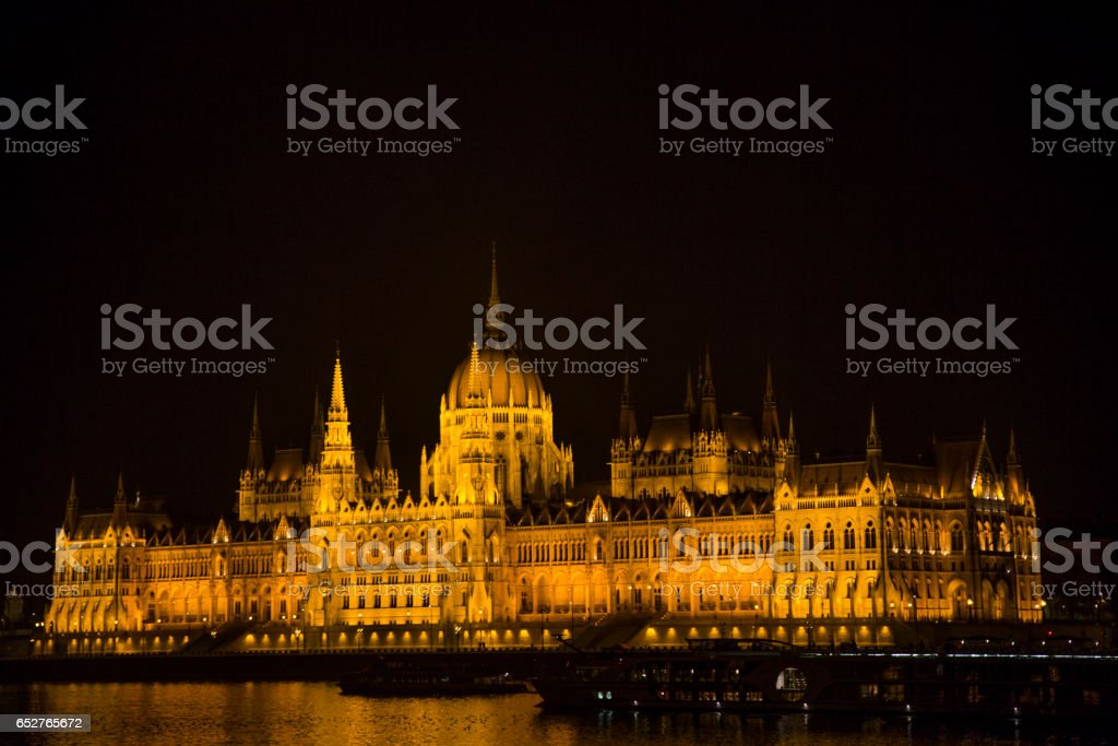 Shot at night, the all lit and beautiful Budapest Parliament building, by the Danube river. stock photo