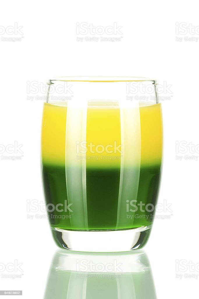 Shot cocktail collection: Green and Gold royalty-free stock photo