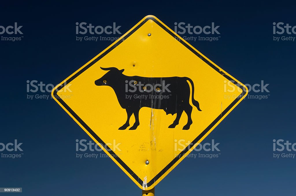 Shot Cow Sign Two stock photo