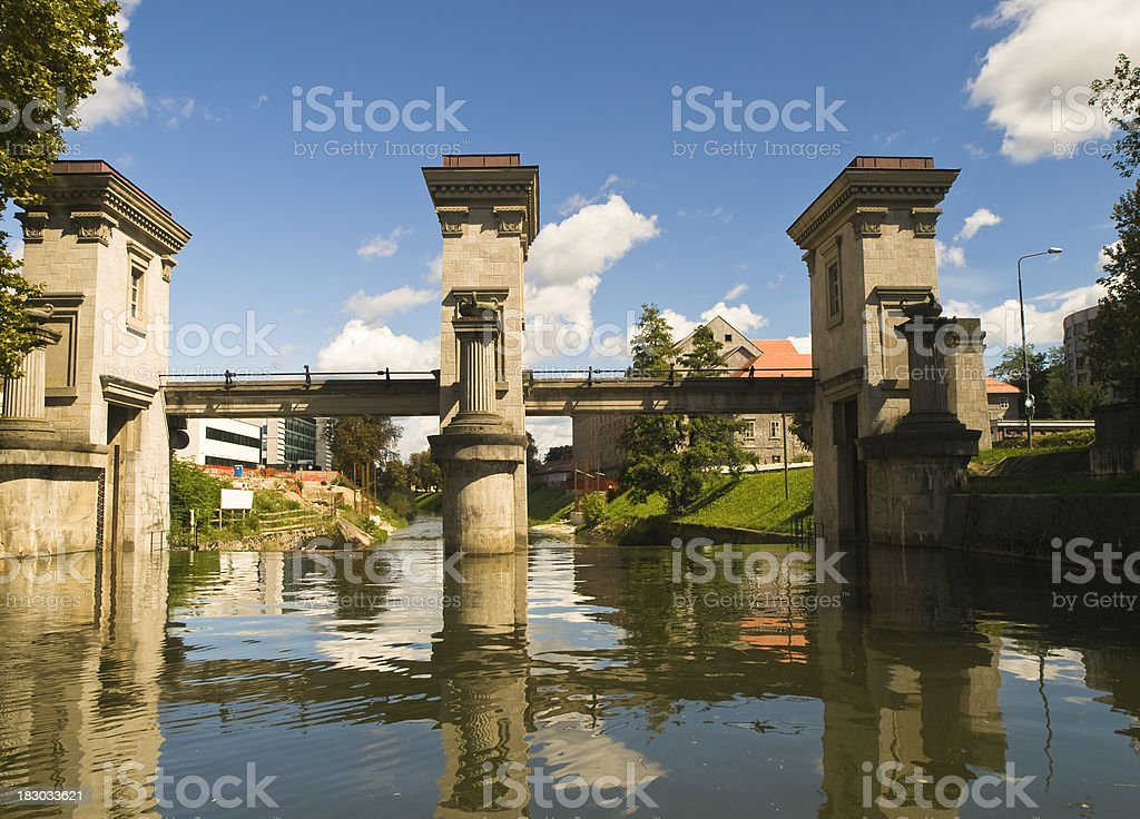 A shot from the bottom of Water Gates on Ljubljanica stock photo