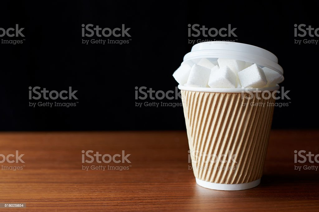 Shot Illustrating High Sugar Levels In Takeaway Drinks stock photo