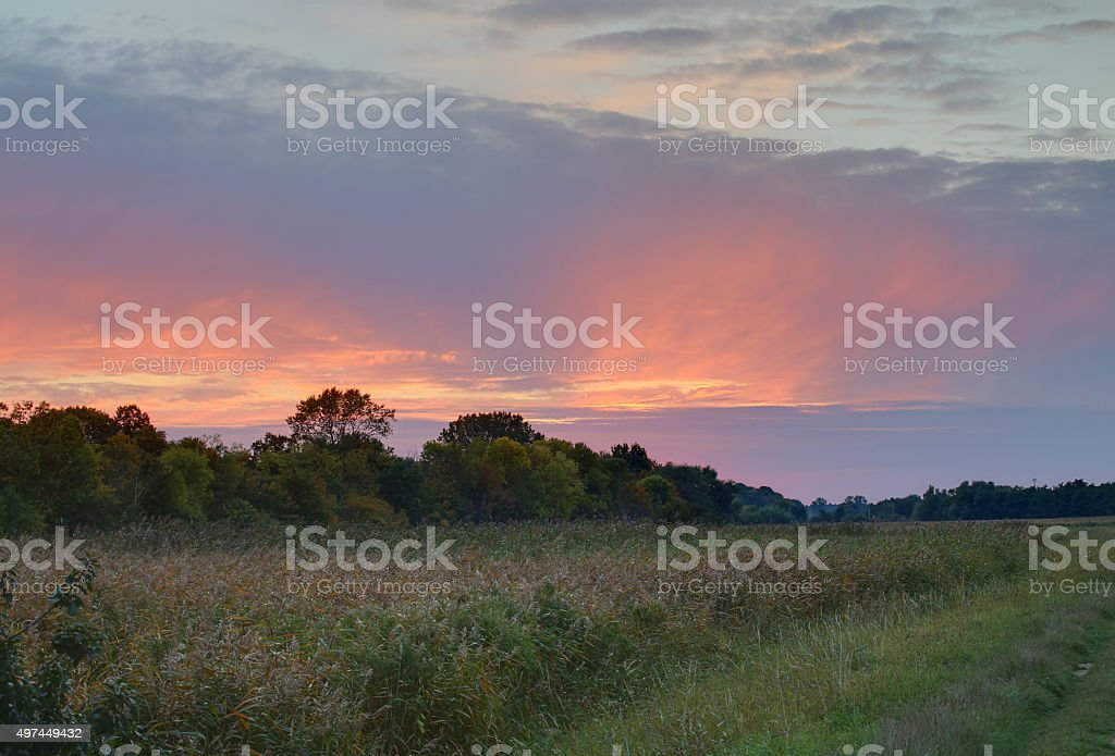 HDR shot of a colorful sunset sky in autumn stock photo