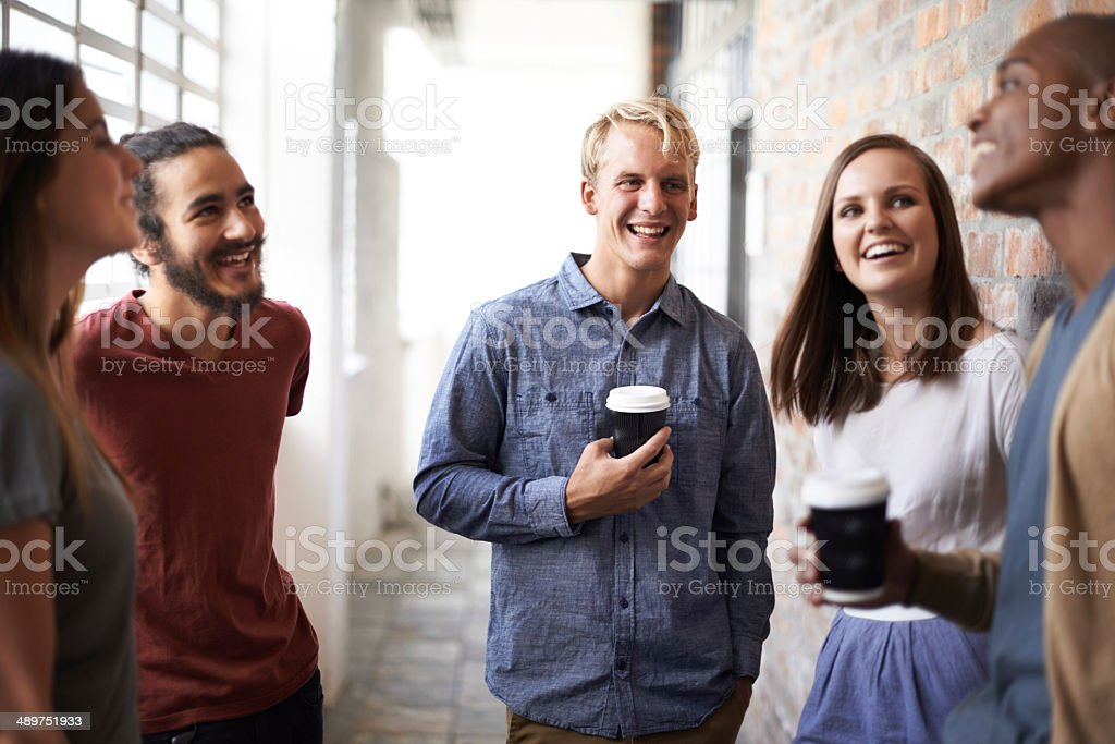 Lughter in between lectures stock photo