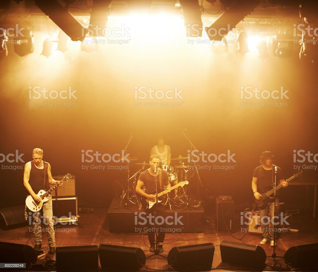 Jamming on stage stock photo