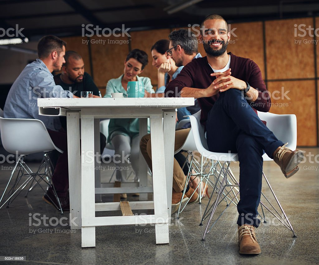 I've got a great team behind me stock photo