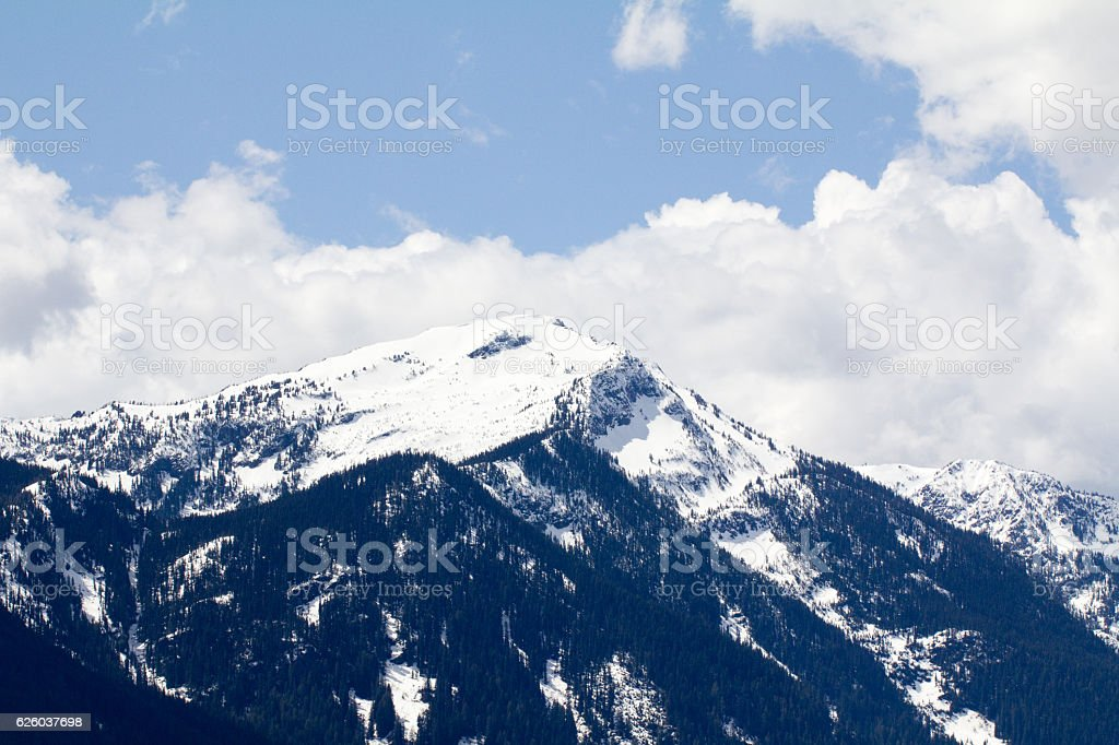 Shot of a mountain with snow at Lake Wenatchee, Washington stock photo