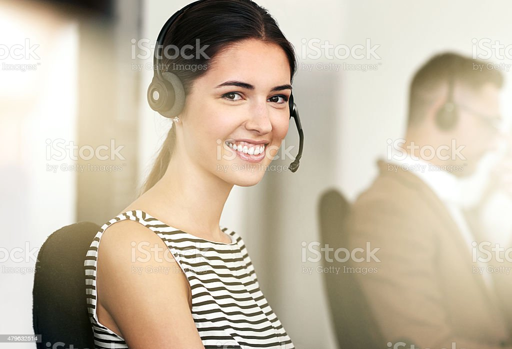 She's ready to take your call stock photo