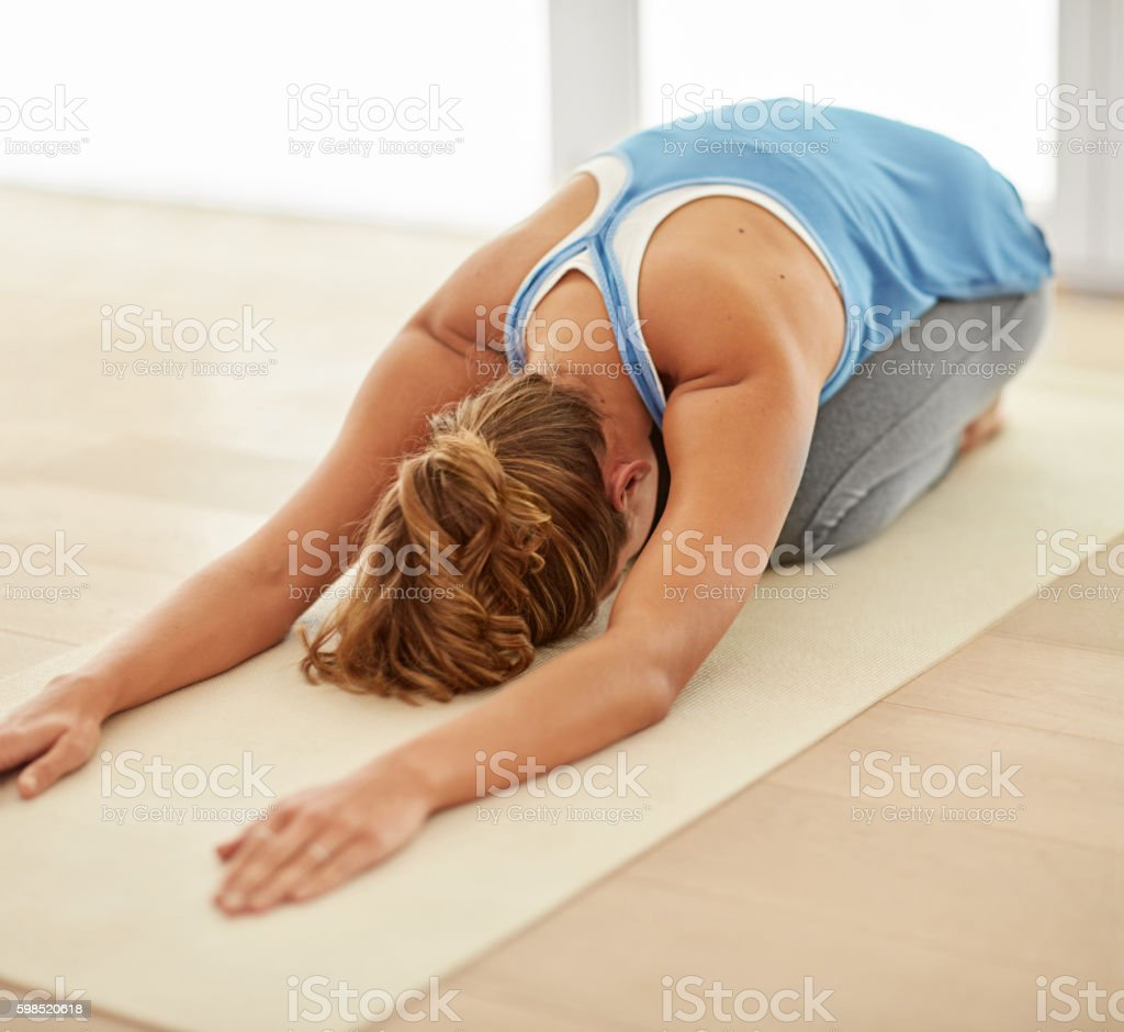 Yoga- part of her daily routine stock photo