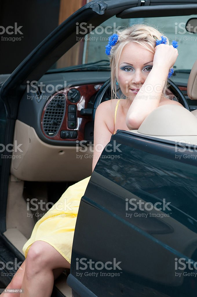 Shot of beautiful woman in car royalty-free stock photo