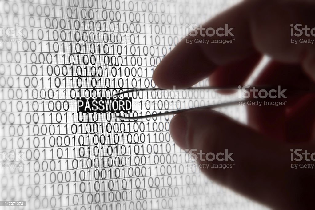 Shot of binary code and the word password royalty-free stock photo