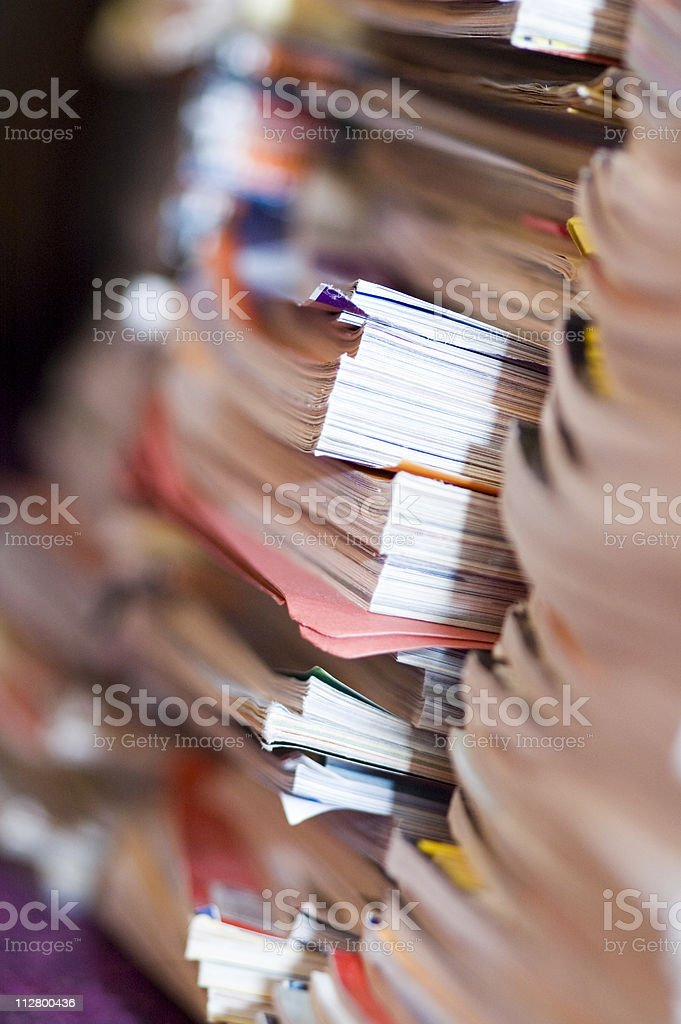 Shot of magazines stacked up in the corner royalty-free stock photo