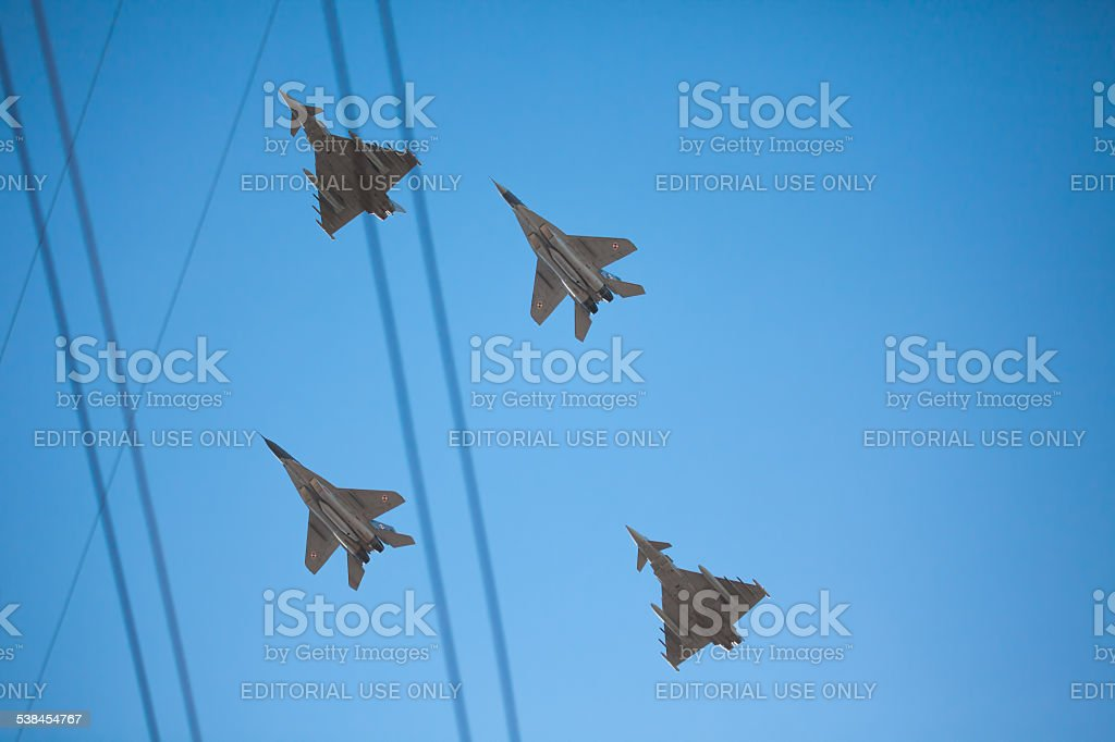 Shot of NATO Baltic Air Police planes stock photo
