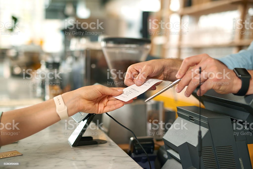 Shot of paying with credit card stock photo