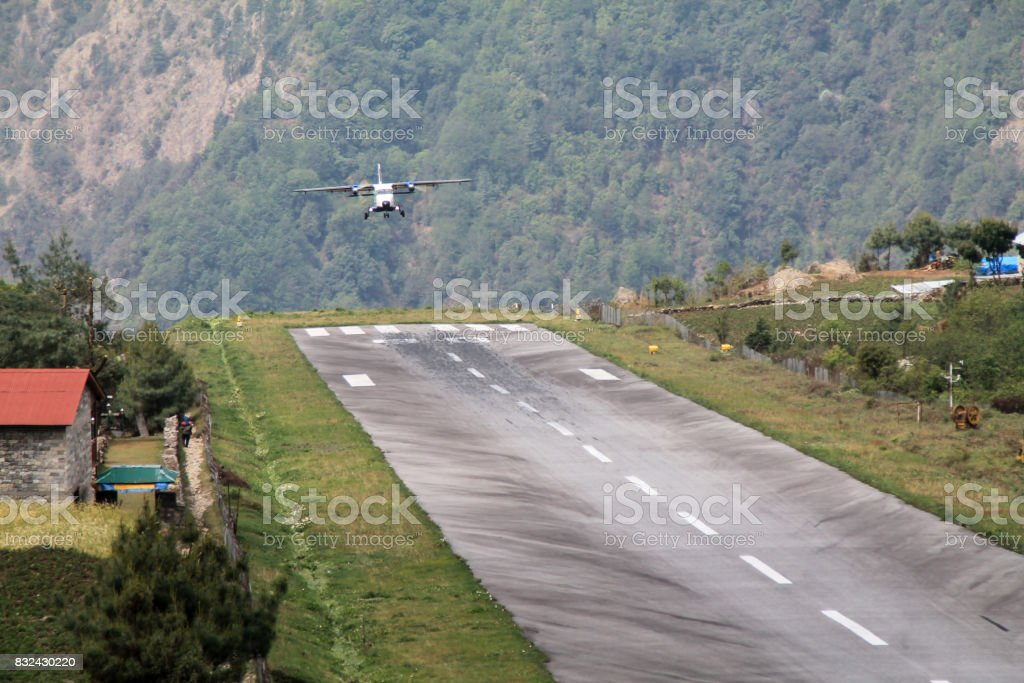 Shot of the famous Lukla Airport in Nepal. stock photo