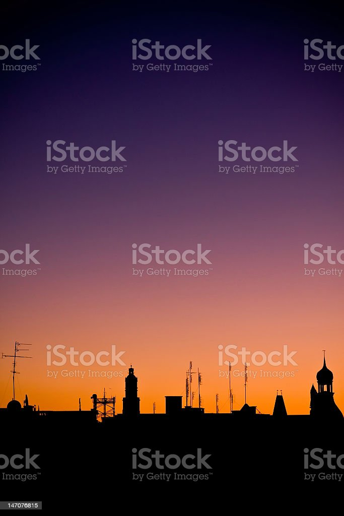 Shot of the night city on aurora background royalty-free stock photo