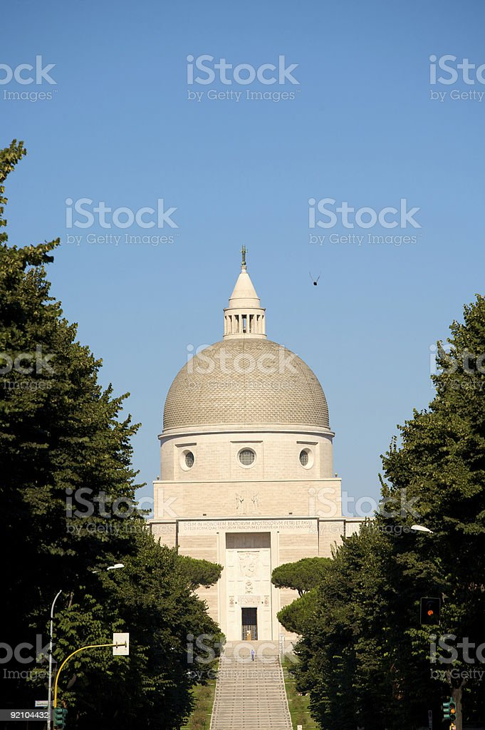 Shot of the Roman Basilica with trees in the foreground royalty-free stock photo