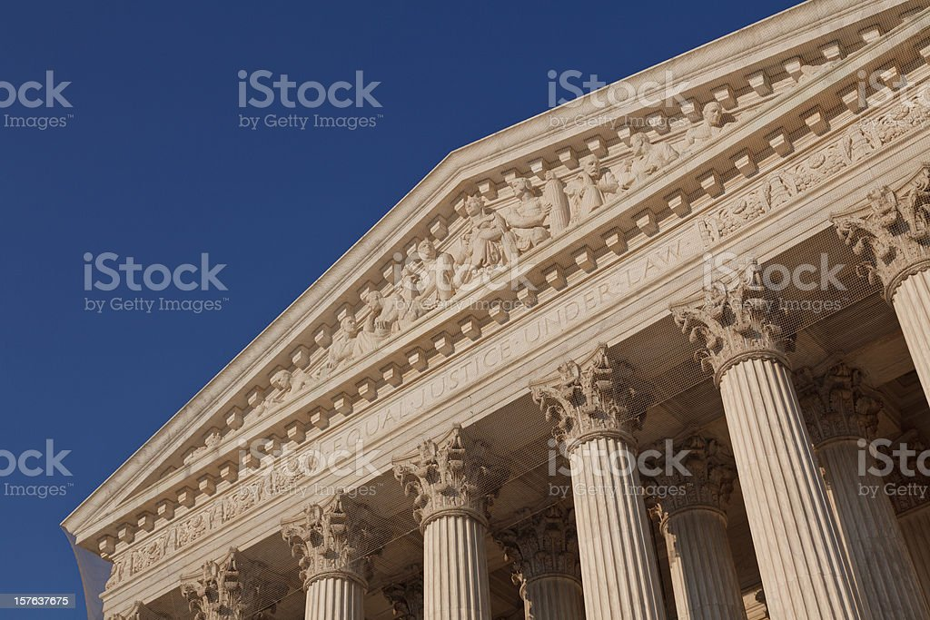 Shot of the roof of an Ancient Greek style building royalty-free stock photo