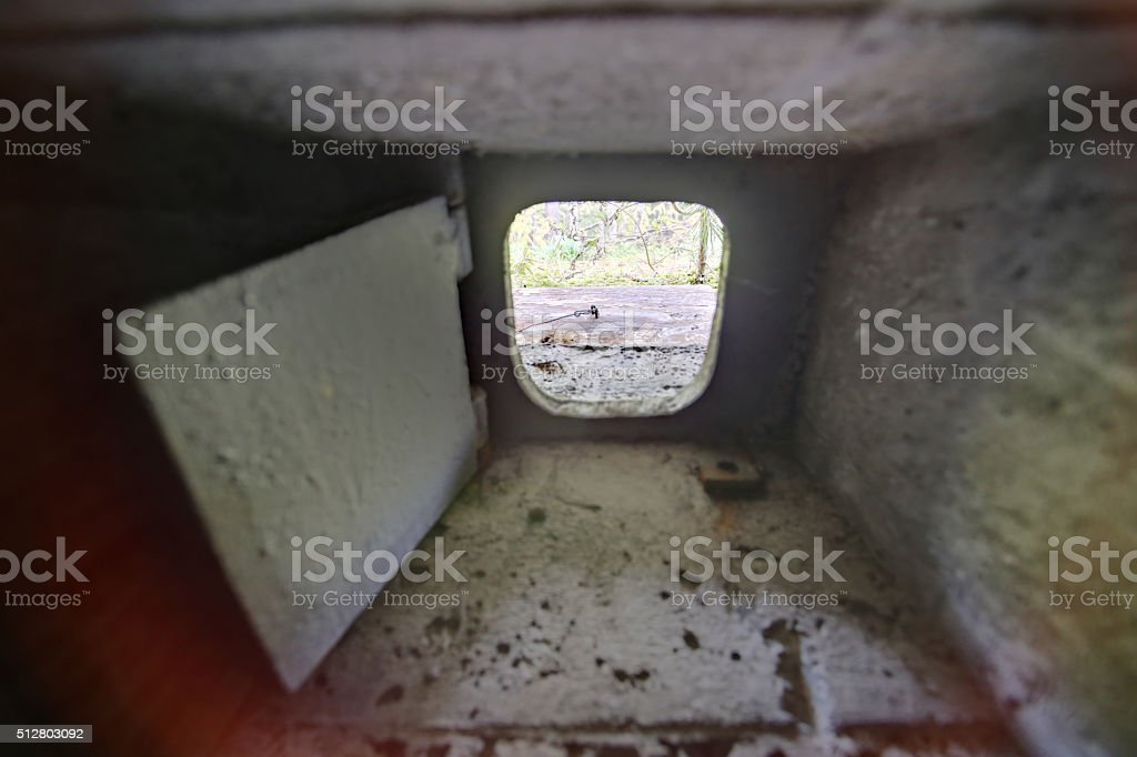 HDR shot out of a small bunker loophole. stock photo