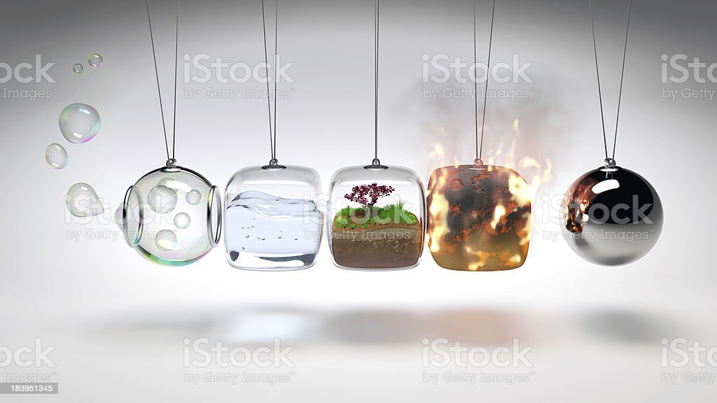 Kugelsto?pendel(Newtons Cradle) aus 4 Elementen stock photo
