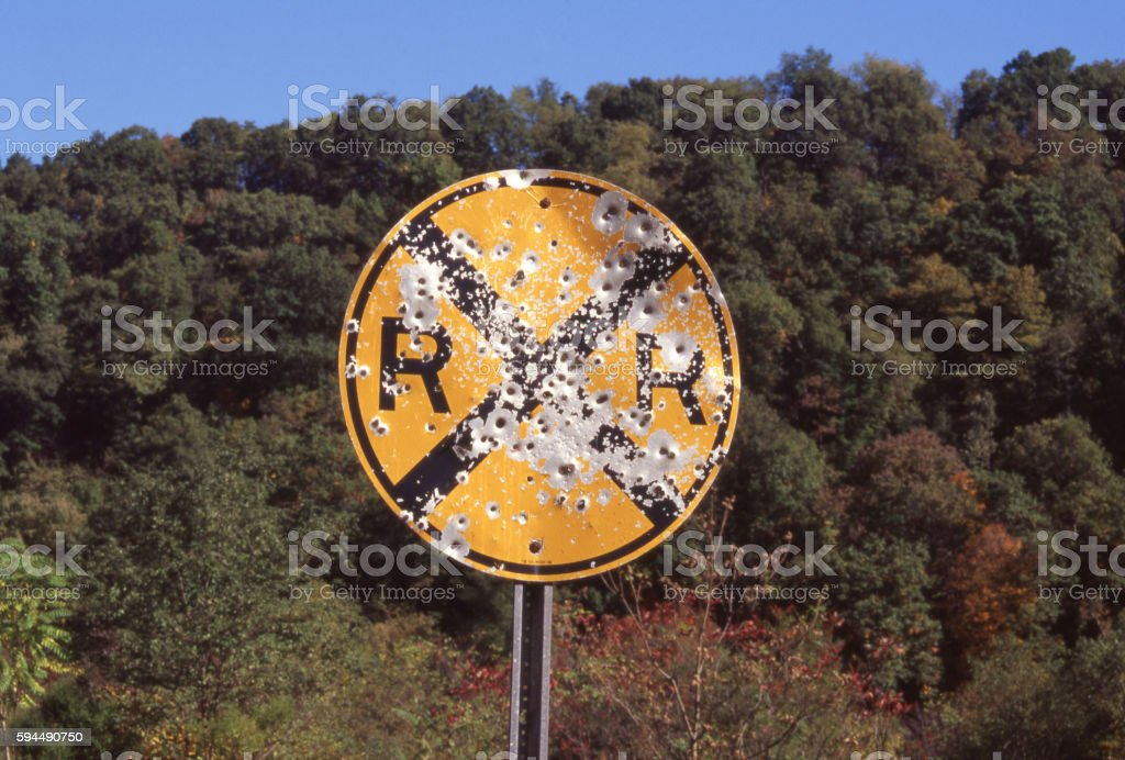 Shot Up RR Sign stock photo