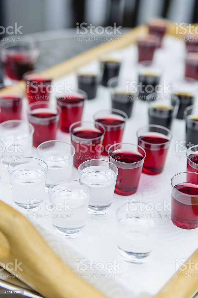 Shotglasses with different liquers royalty-free stock photo