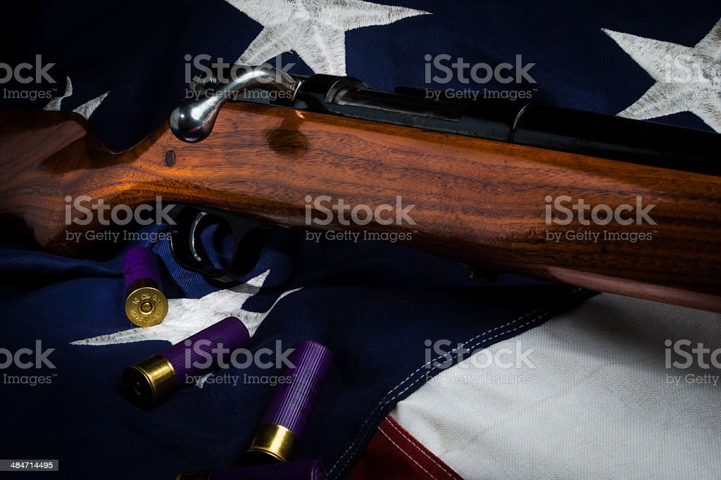 Shotgun and American Flag stock photo