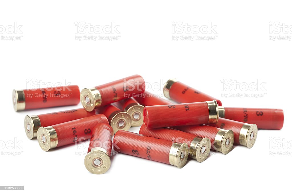 shotgun cartridges isolated over white stock photo