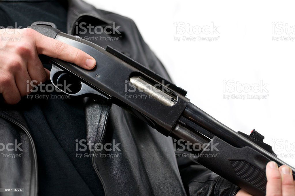 Shotgun Man Close Up stock photo