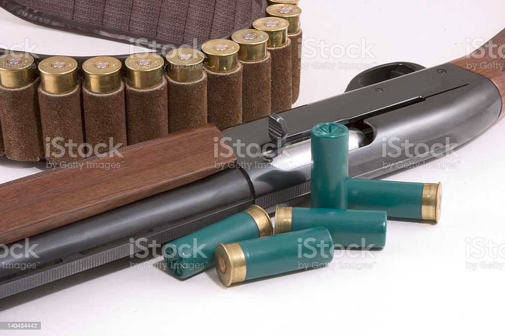 shotgun, shells, and belt stock photo
