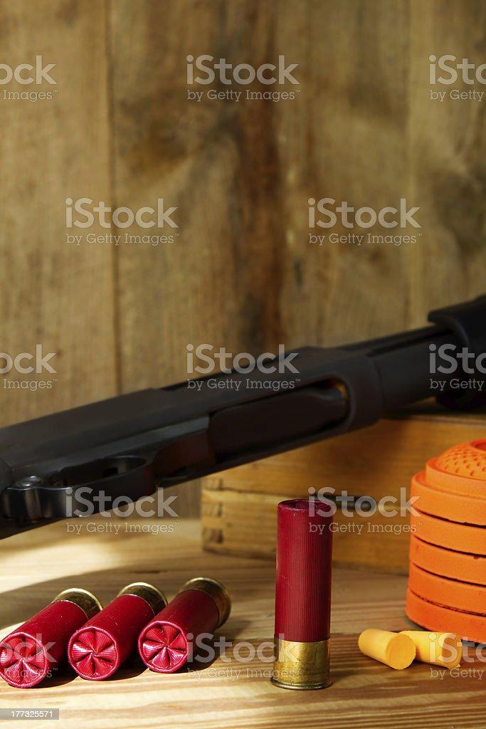 Shotgun, Shells, and Clay Pigeons stock photo