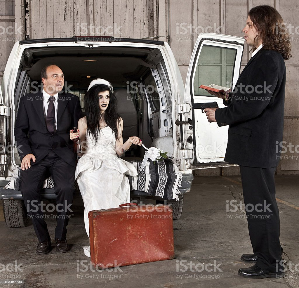 shotgun wedding stock photo