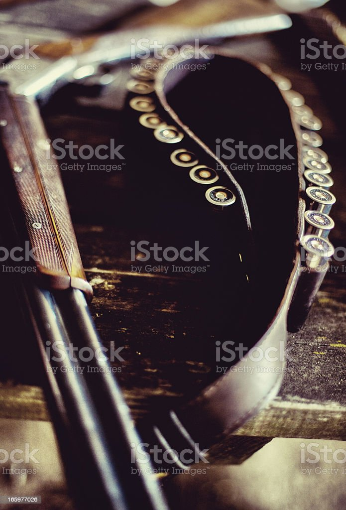Shotgun with a belt of cartridges royalty-free stock photo