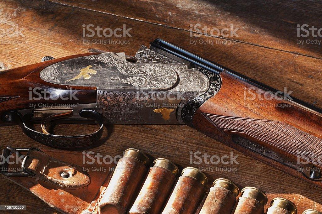 Shotgun with Bullets stock photo