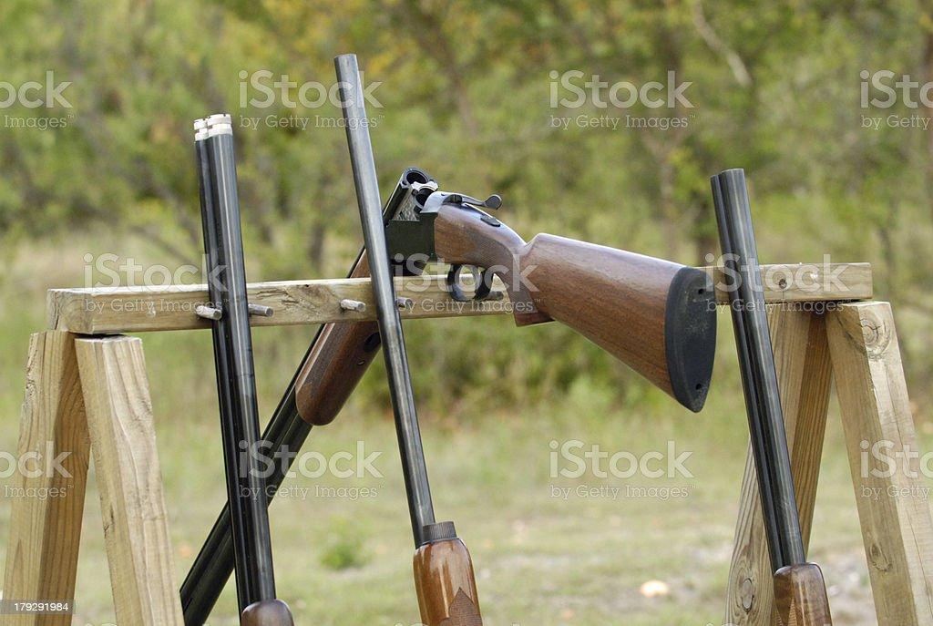 Shotguns waiting stock photo