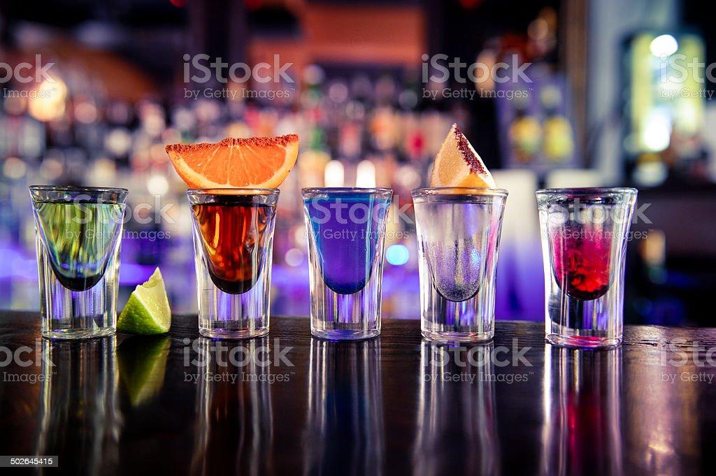 Shots cocktails stock photo