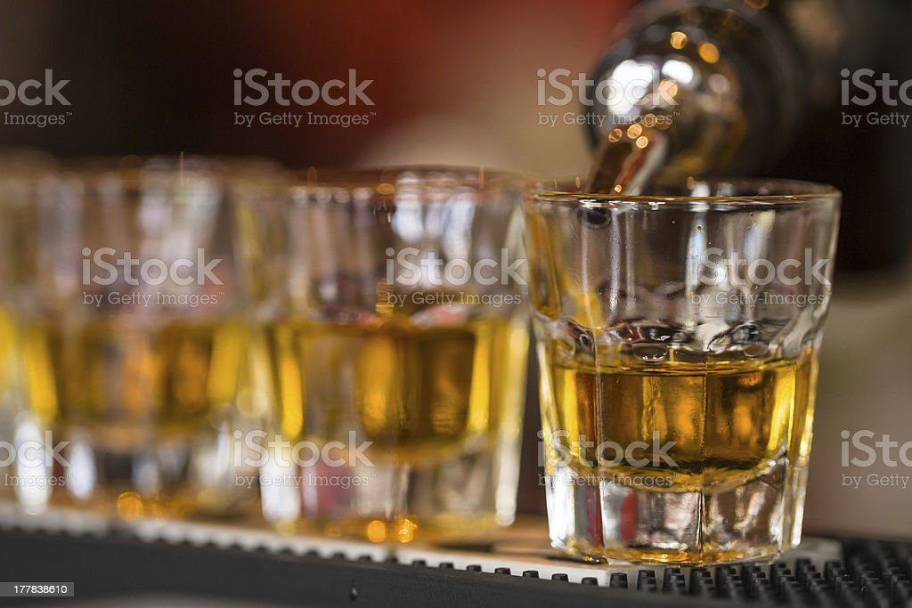 Shots drinks in cocktail nightclub stock photo