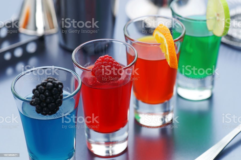 Shots mixed with different fruits stock photo