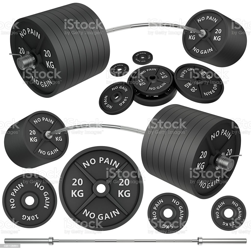 Shots of a metal barbells and weights stock photo