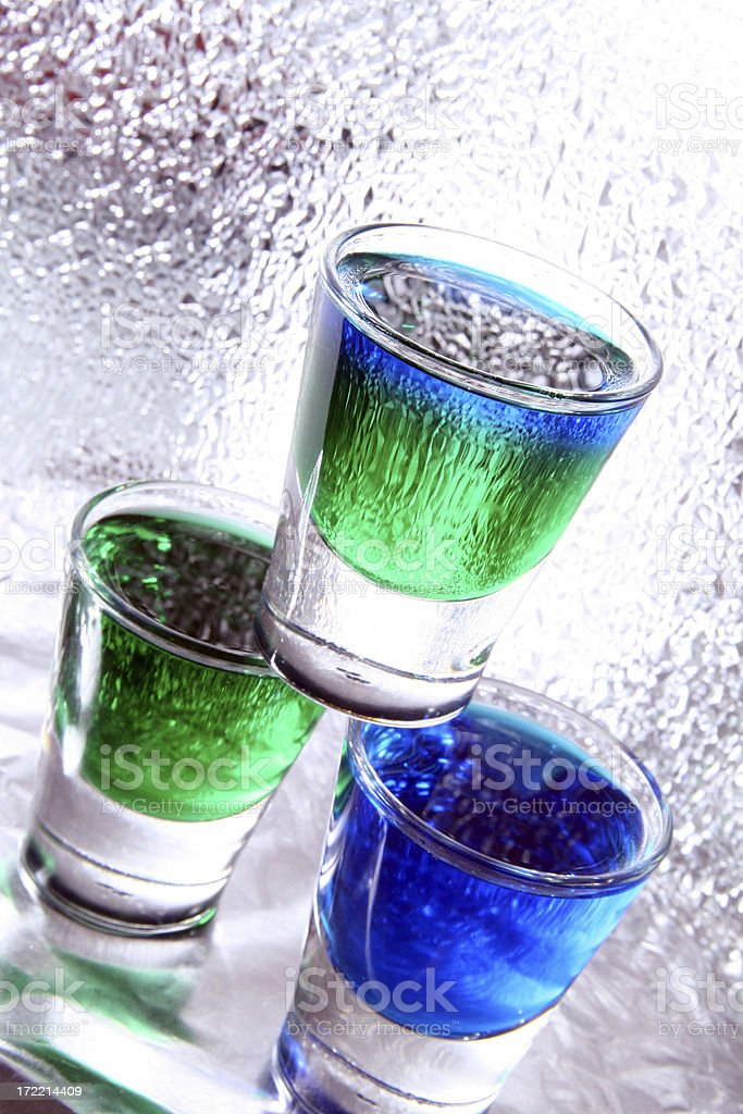 Shots of colorful liquor royalty-free stock photo