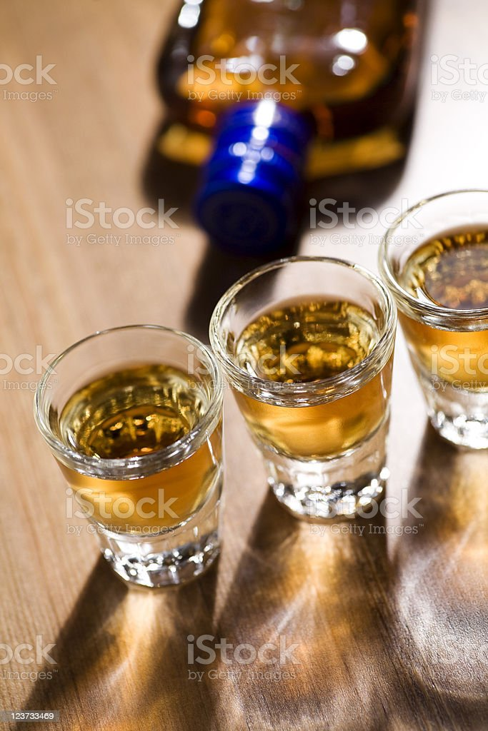 Shots of whiskey royalty-free stock photo