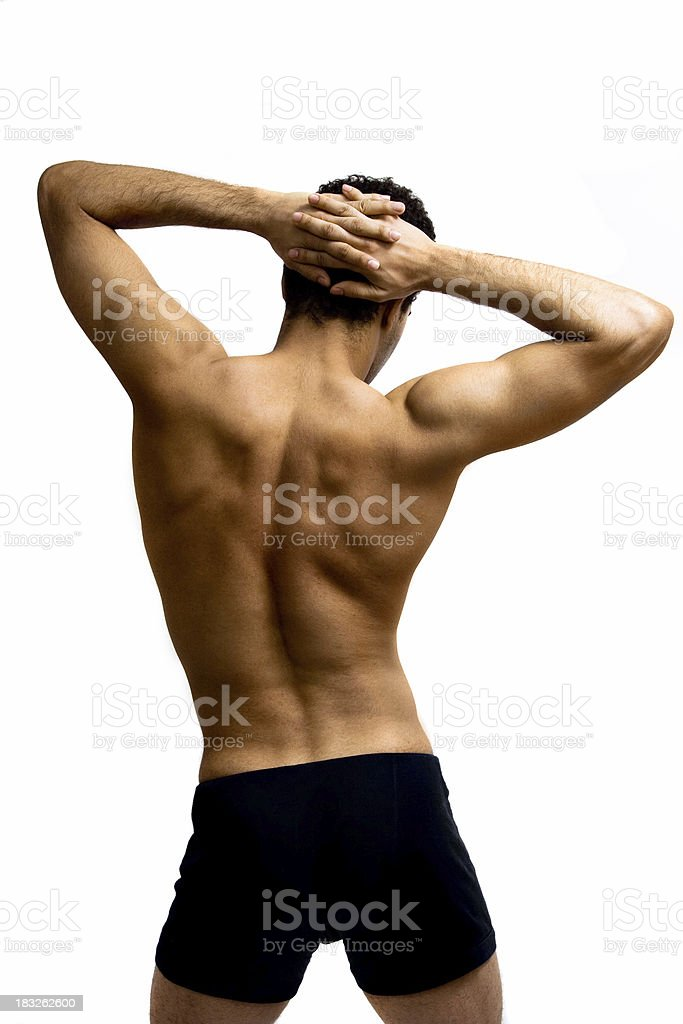 Shoulder and back stretch royalty-free stock photo
