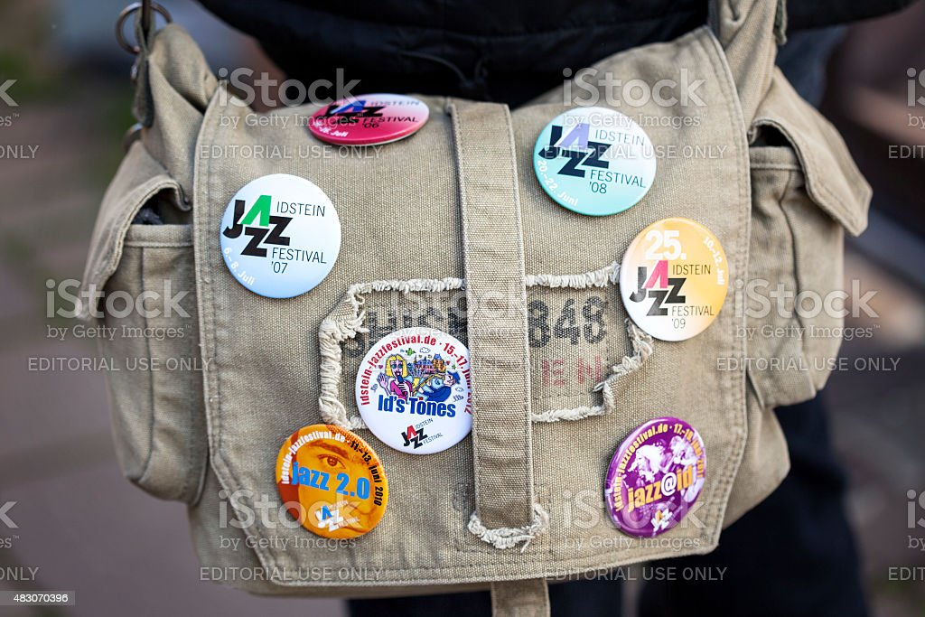 Shoulder bag with stickers of Idstein Jazz Festival stock photo