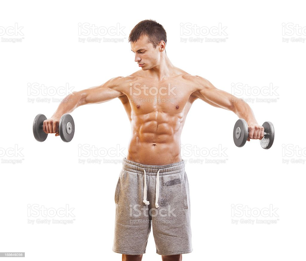 Shoulder exercise, dumbbell lateral raise. royalty-free stock photo