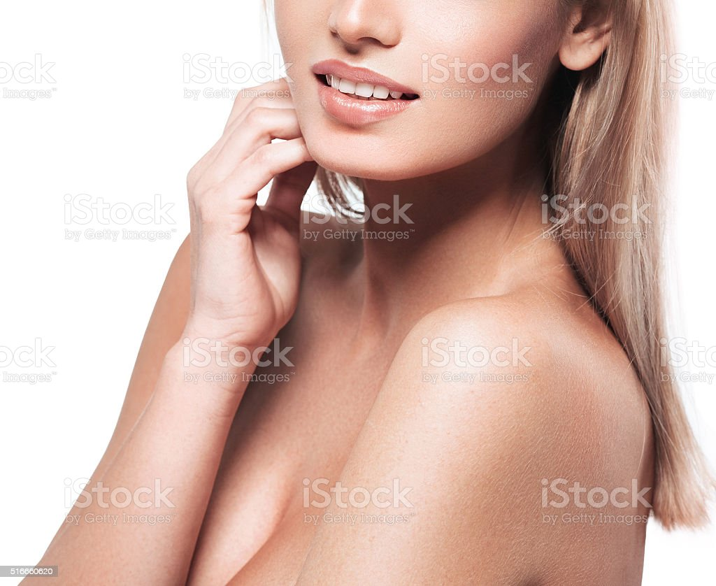 Shoulder lips face chin neck Blonde woman isolated on white stock photo