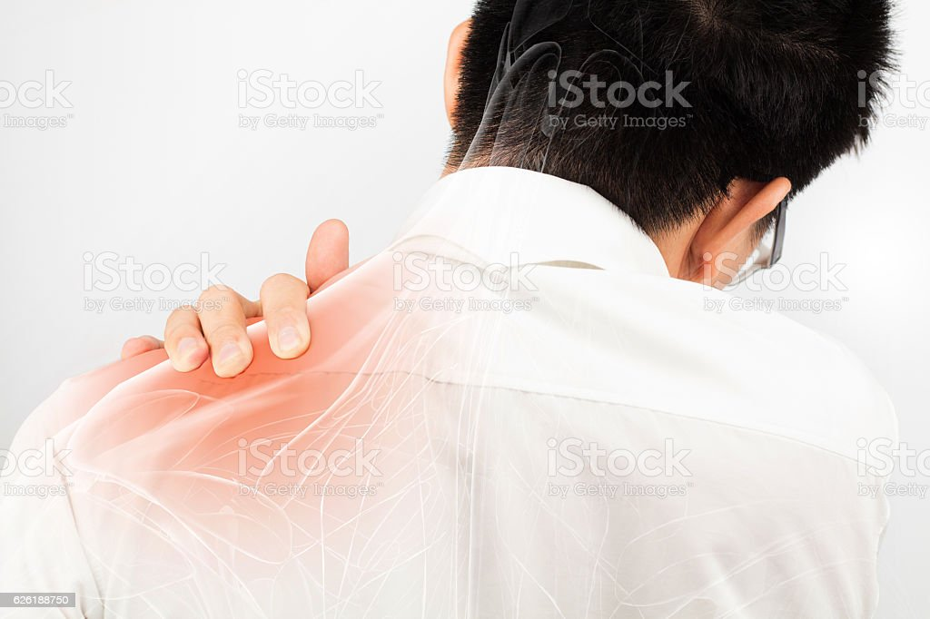shoulder muscle pain stock photo
