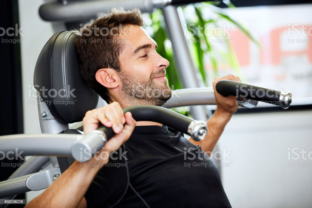 Shoulder press dude stock photo