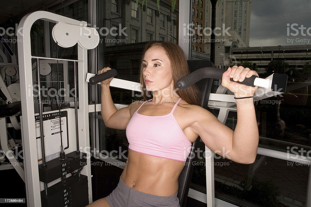 Shoulder Press Work Out Series royalty-free stock photo