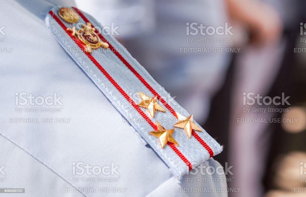 Shoulder strap colonel of the russian police stock photo