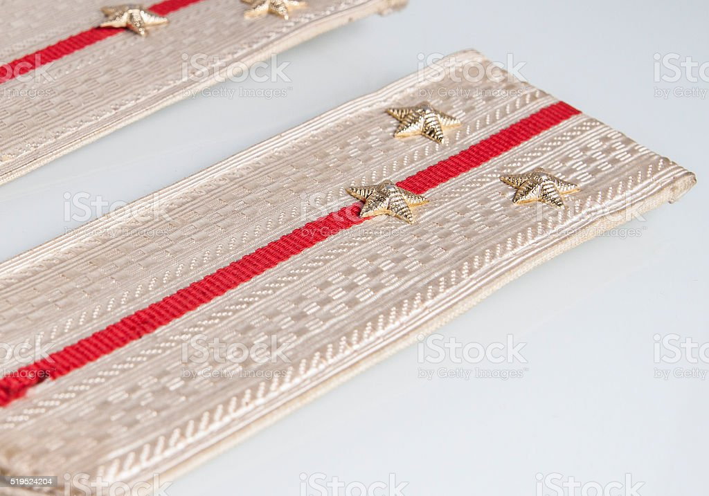 Shoulder straps Lieutenant of russian army isolated on white background stock photo